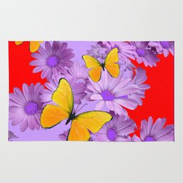 Red Yellow Butterflies Lilac Color Purple Daisies Rug