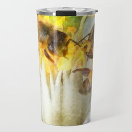Bees and Flowering Plants Watercolor Travel Mug