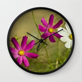 Purple and white autumn flowers Wall Clock