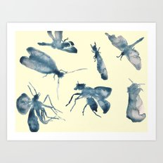 Inky Bugs Art Print