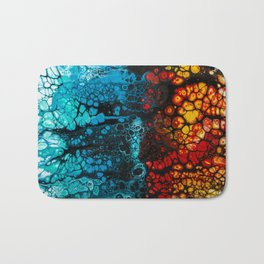 FIRE & ICE Acrylic Pour Painting Bath Mat