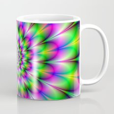 Spiral Rosette in Pink Green and Blue Mug