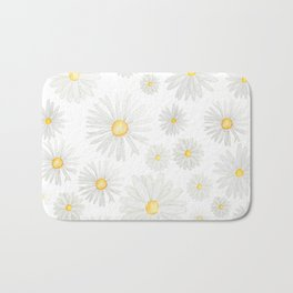 white daisy pattern watercolor Bath Mat