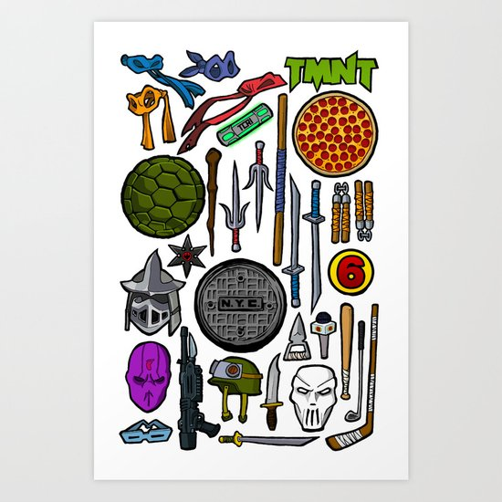 TMNT Weapons & Masks Art Print