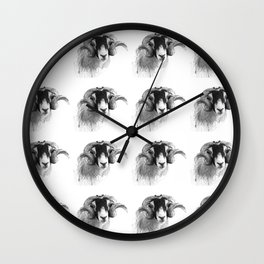 Tiled black and white moorland sheep Wall Clock