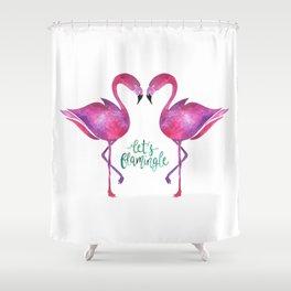 Let's Flamingle! —Version 1 Shower Curtain