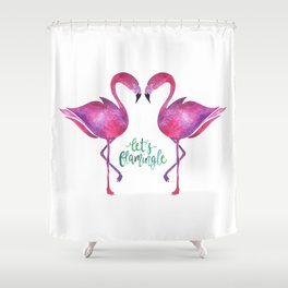 Let's Flamingle! —Version 1 Shower Curtain