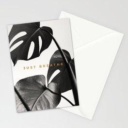 Just Breathe Black Monstera Print Stationery Cards