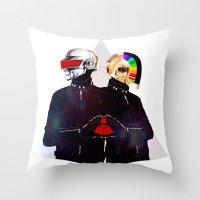 daft punk Throw Pillows featuring Daft Punk by omurizer