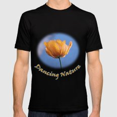 A spring wild yellow flower in blue background. MEDIUM Mens Fitted Tee Black