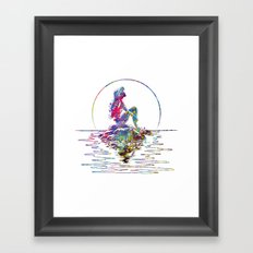 The Little Mermaid Ariel Silhouette Watercolor Framed Art Print