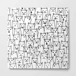 Funny Cat Pattern organic style black on white background Metal Print