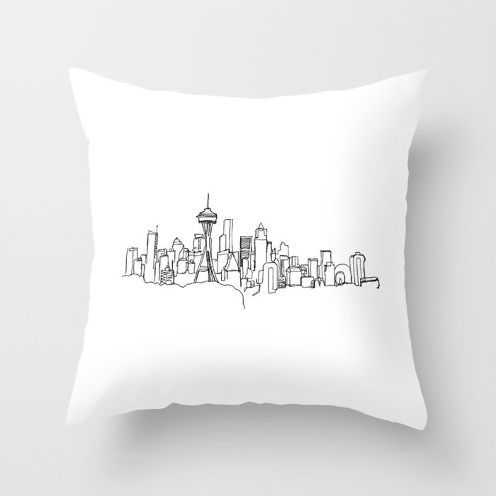 Seattle Skyline Drawing Throw Pillow