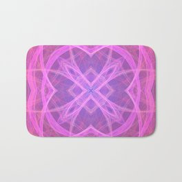 Flower shaped fractal mandala, digital artwork for creative graphic design. Colorful glowing abstrac Bath Mat