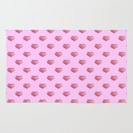 Pretty in Pink. Ticking pink hearts. Rug