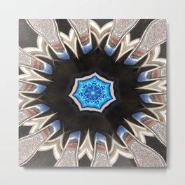 Icelandic Blue Abstract Mandala Metal Print