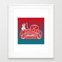 mario kart Framed Art Prints featuring Mario Kart 8 Champion by Kody Christian