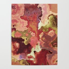 Peach & Gold Marble - abstract Art by Fluid Nature Poster
