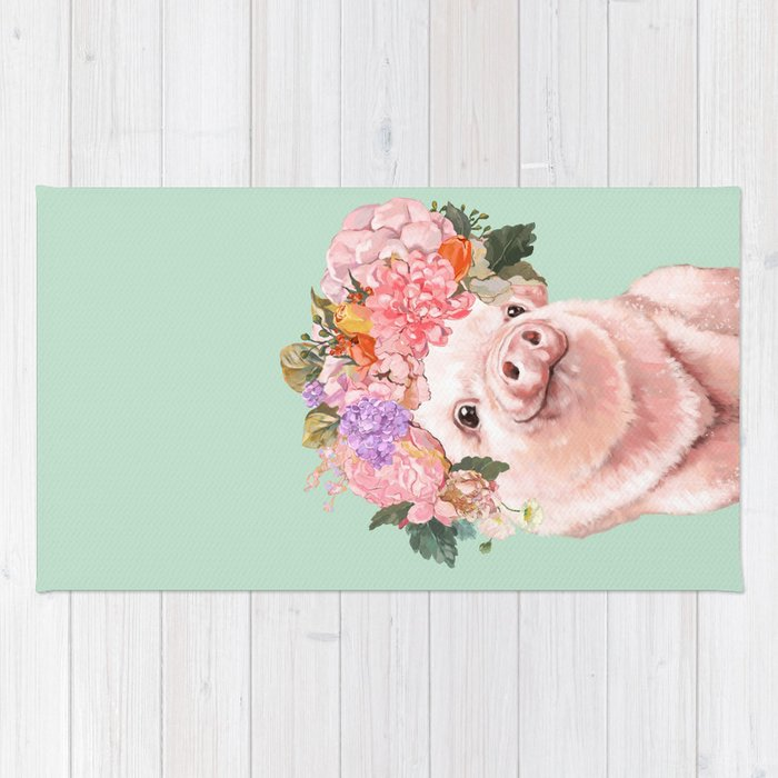 Baby Pig with Flowers Crown in Pastel Green Rug