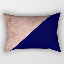 Minimalist rose gold navy blue color block geometric Rectangular Pillow