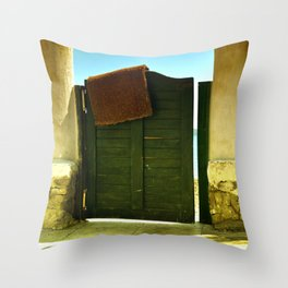 green old garden door Throw Pillow