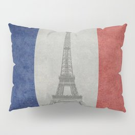Flag of France with Eiffel Tower Vintage style Pillow Sham