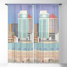 Wichita, Kansas - Skyline Illustration by Loose Petals Sheer Curtain