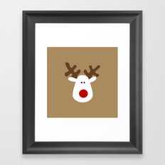 Christmas Reindeer-Brown Framed Art Print