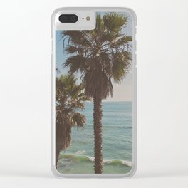 palm tree and ocean. California Vacation Clear iPhone Case