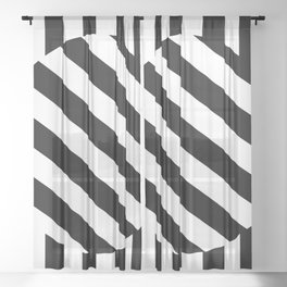 The Turning Point - Abstract Minimalism Art (3) Black & White Sheer Curtain