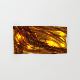 Saturated bronze and smooth sparkling lines of metal tapes on the theme of space and abstraction. Hand & Bath Towel