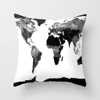 world map Throw Pillows featuring World Map  Black & White by Whimsy Romance & Fun