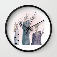 pixies Wall Clocks featuring Pixies by Martina Naldi
