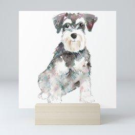 Miniature Schnauzer dog watercolors illustration Mini Art Print
