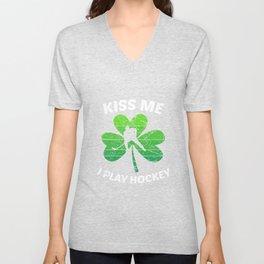 Kiss Me I Play Hockey Shamrock St. Patrick's Gift Unisex V-Neck