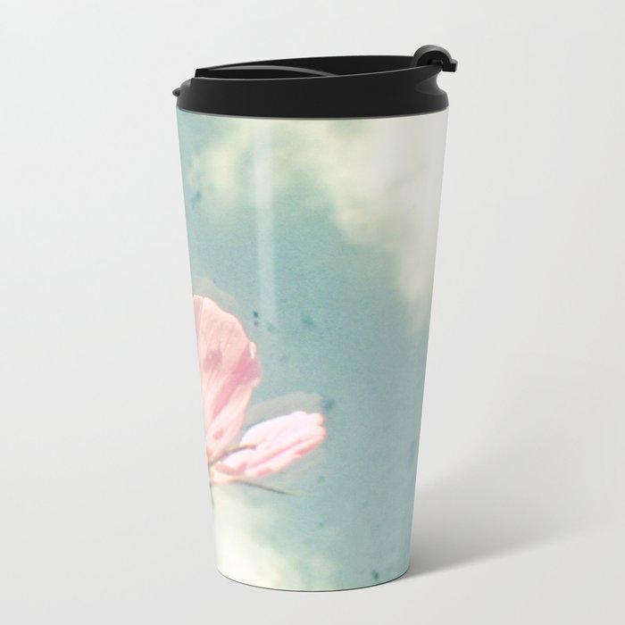 Pink Cosmos Metal Travel Mug