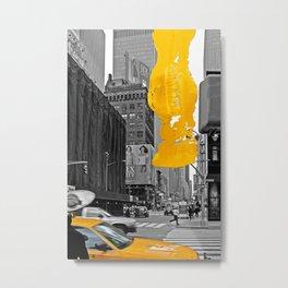 NYC Yellow Cabs - Billboard - Brush Stroke Metal Print