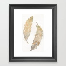 Feather Study in Brown Framed Art Print