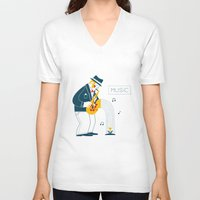 saxophone V-neck T-shirts featuring Man playing the saxophone by Wonderful Day
