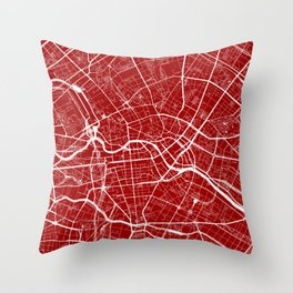 Red City Map of Berlin, Germany Throw Pillow