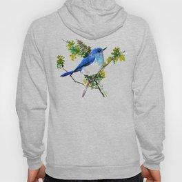 Mountain Bluebird, blue bird, art design blue green cottege Hoody