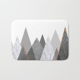 Marble Gray Copper Black and White Mountains Bath Mat
