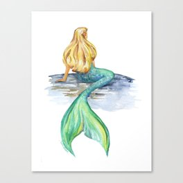 Mermaid Watercolor Canvas Print