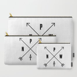 PNW Pacific Northwest Compass - Black on White Minimal Carry-All Pouch