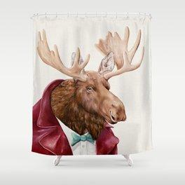 Moose in Maroon Shower Curtain