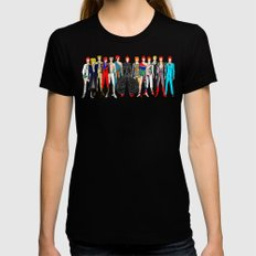 Red Bowie Group Fashion Outfits Black Womens Fitted Tee SMALL