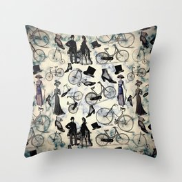 Victorian Bicycles and Fashion Throw Pillow