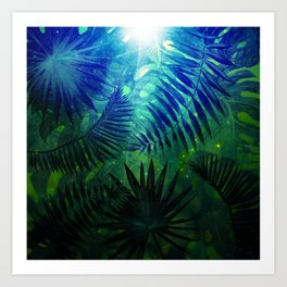 Blue Aloha - Morning Light abstract Tropical Palm Leaves and Monstera Leaf Garden Art Print