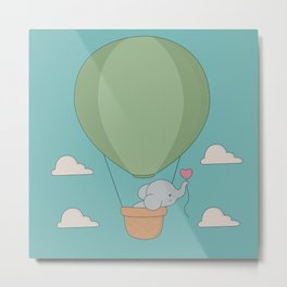 Kawaii Elephant Hot Air Balloon Metal Print