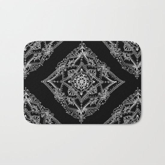 Mandala Doodle Pattern in Black & White Bath Mat